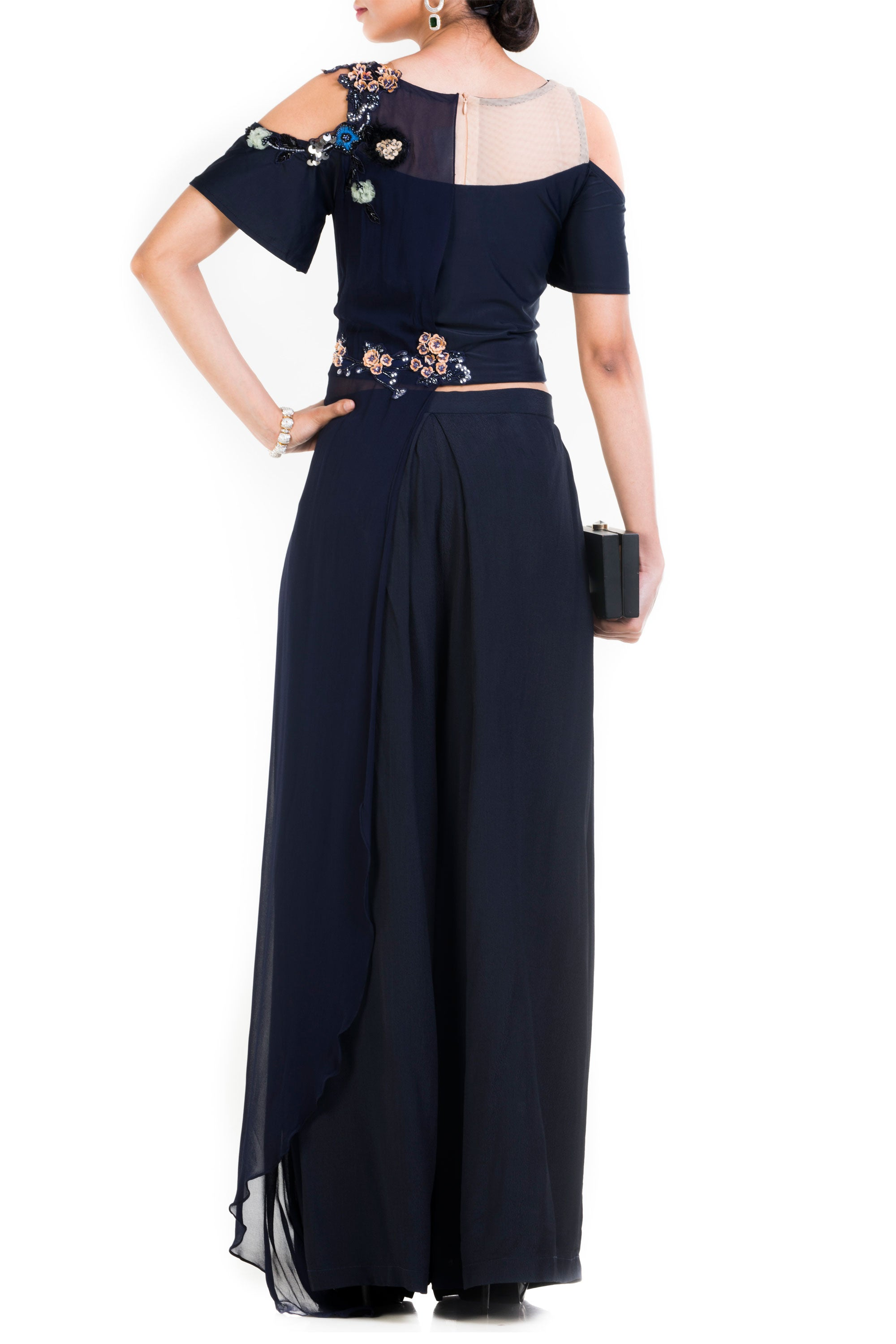 Midnight Blue Palazzo Set Back