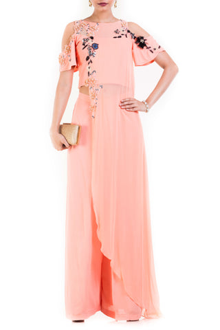 Pale Peach Palazzo Set Front