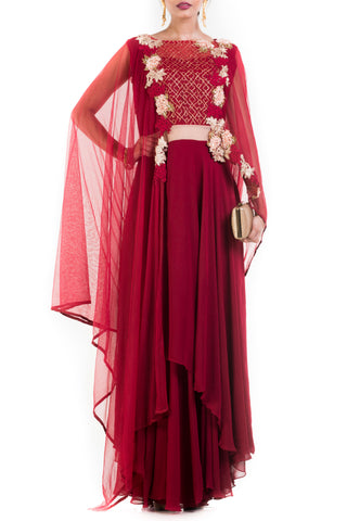 Wine Layered Suit Set With Attached Dupatta Front