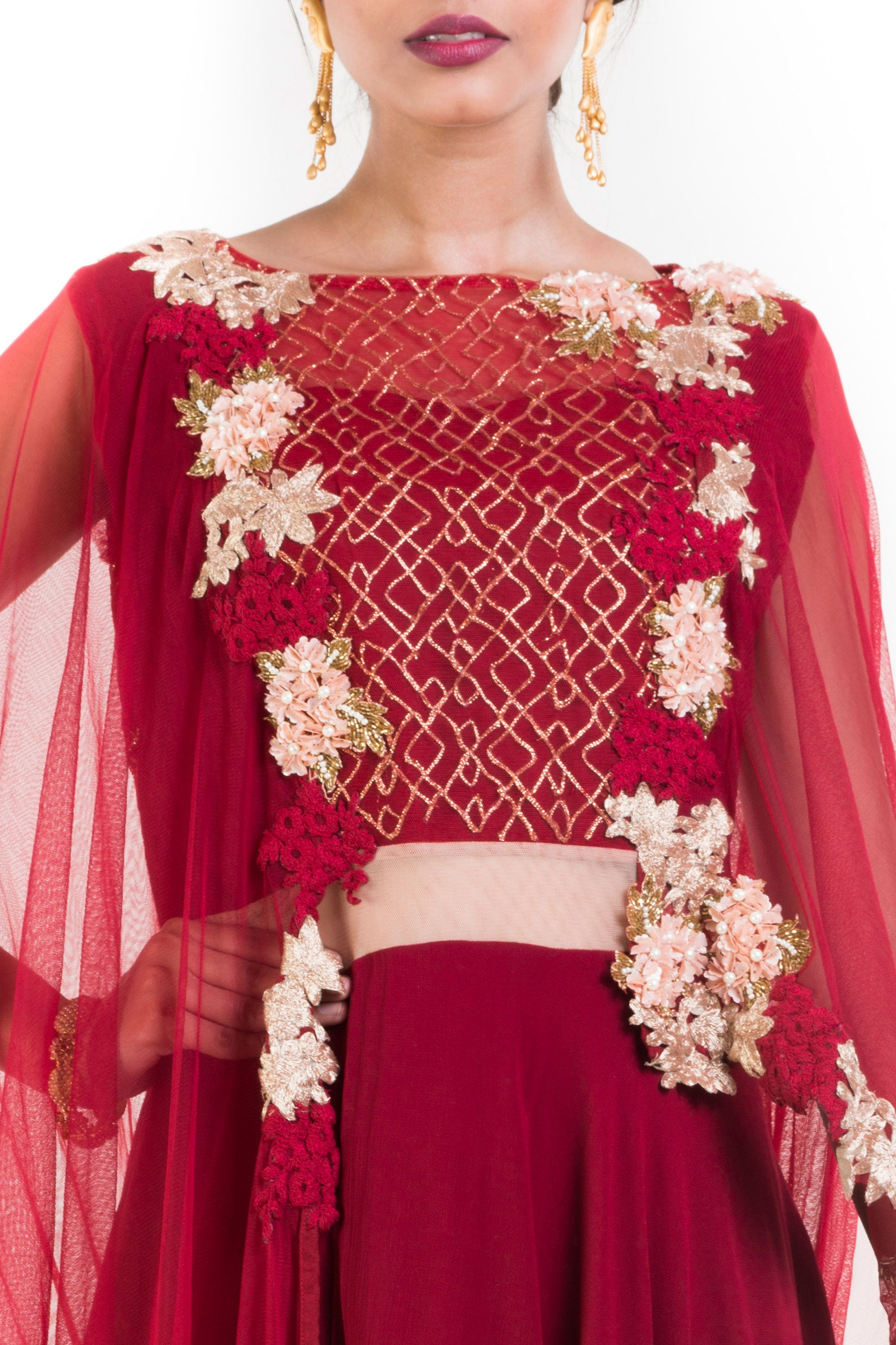Wine Layered Suit Set With Attached Dupatta Closeup