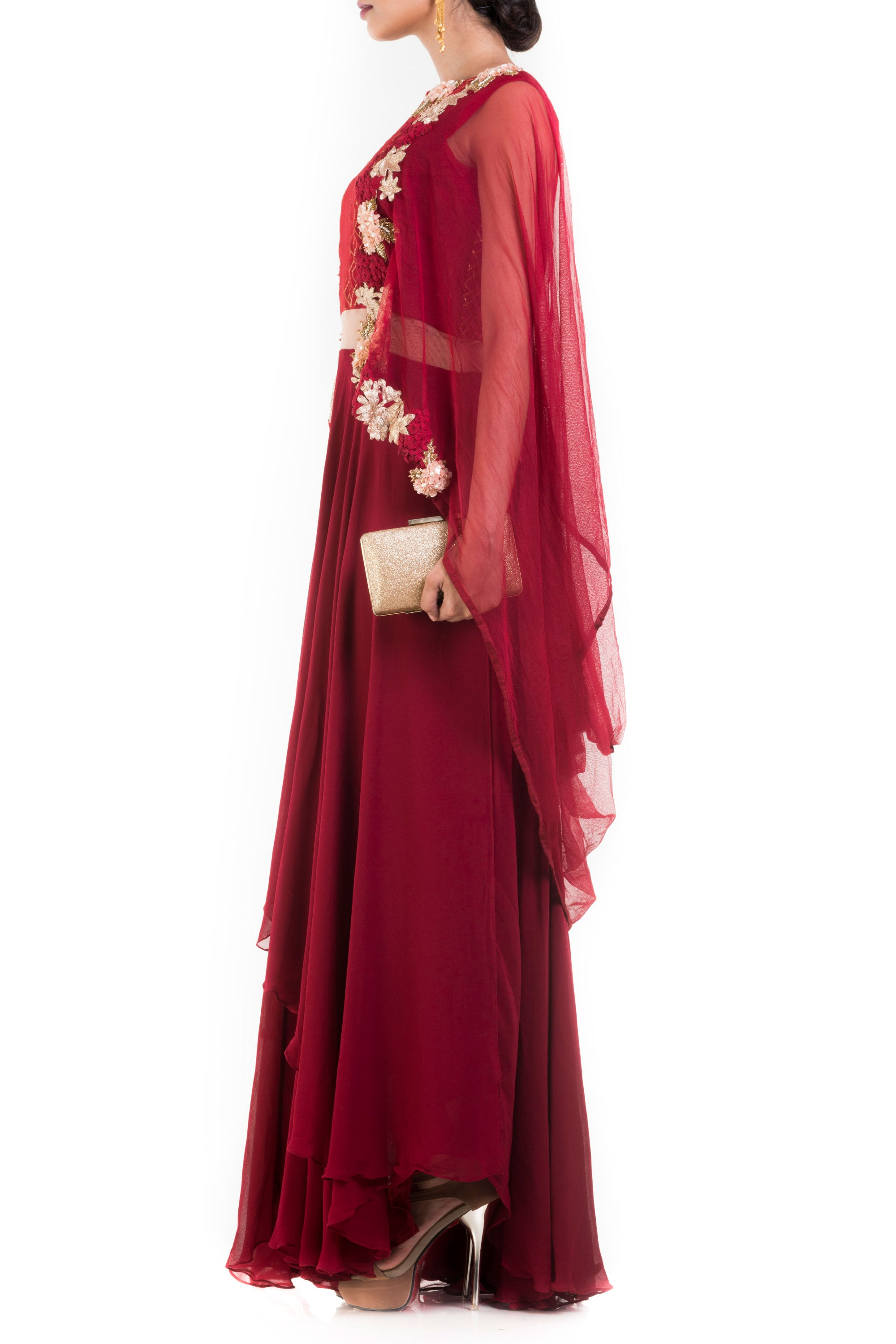 Wine Layered Suit Set With Attached Dupatta Side