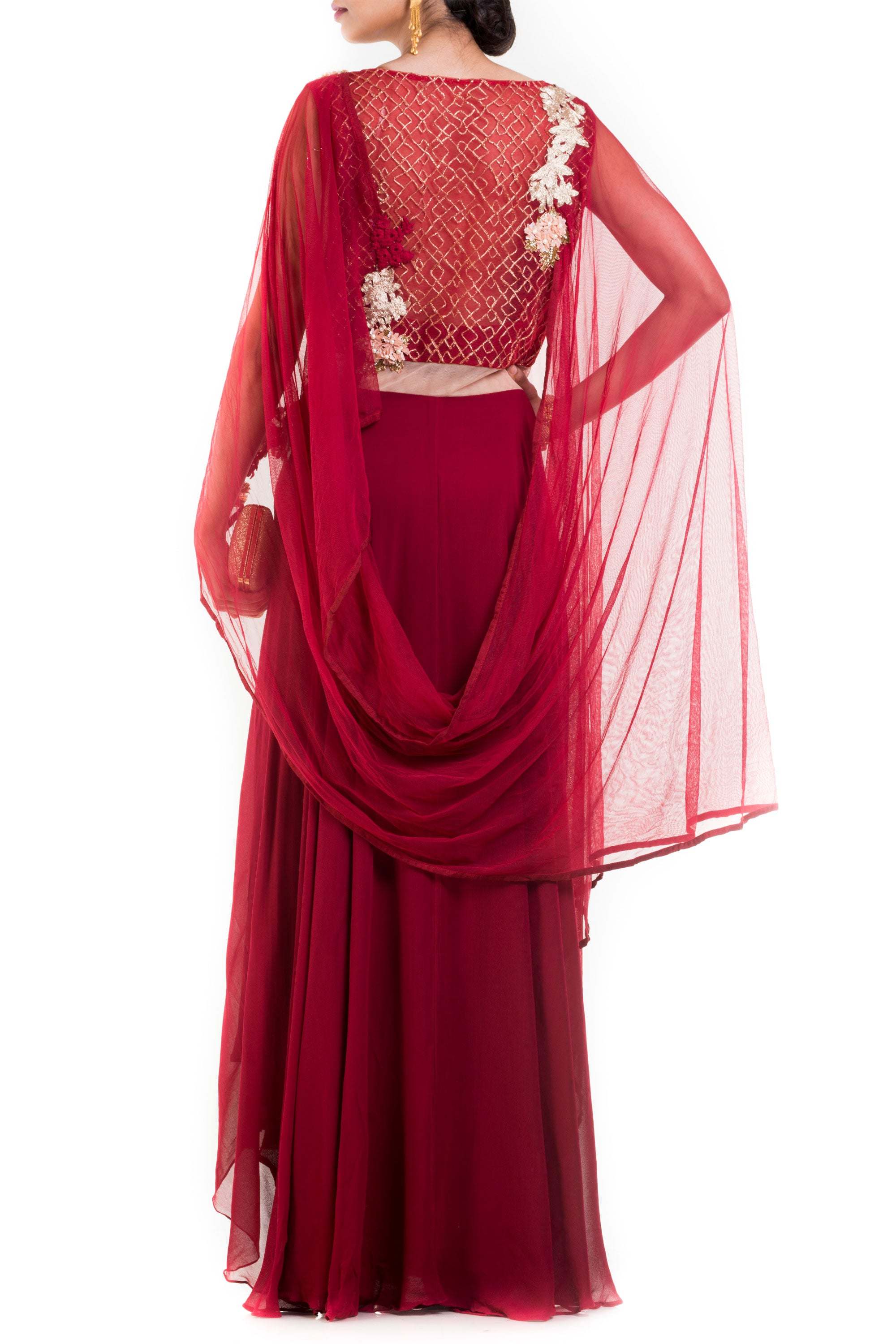 Wine Layered Suit Set With Attached Dupatta Back