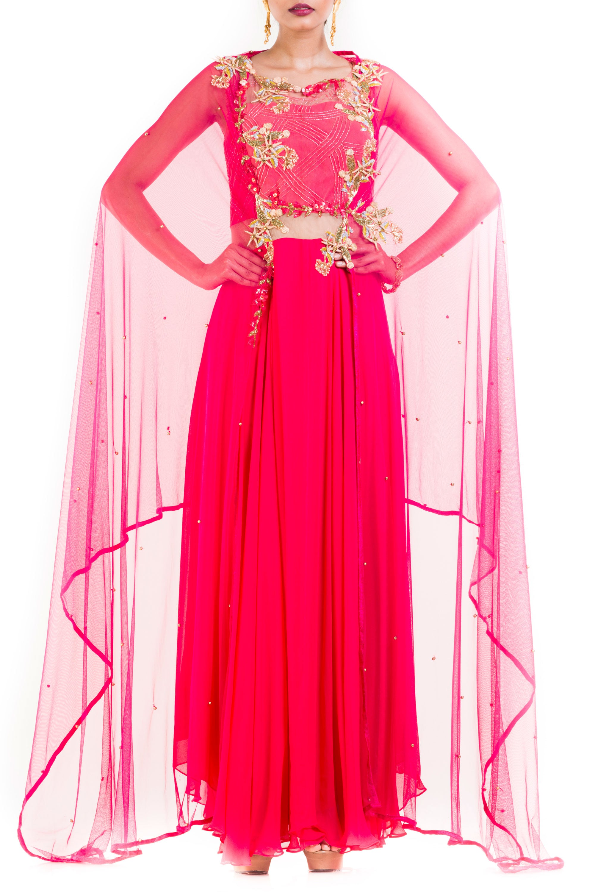 Bright Pink Suit Set With Attached Dupatta Front