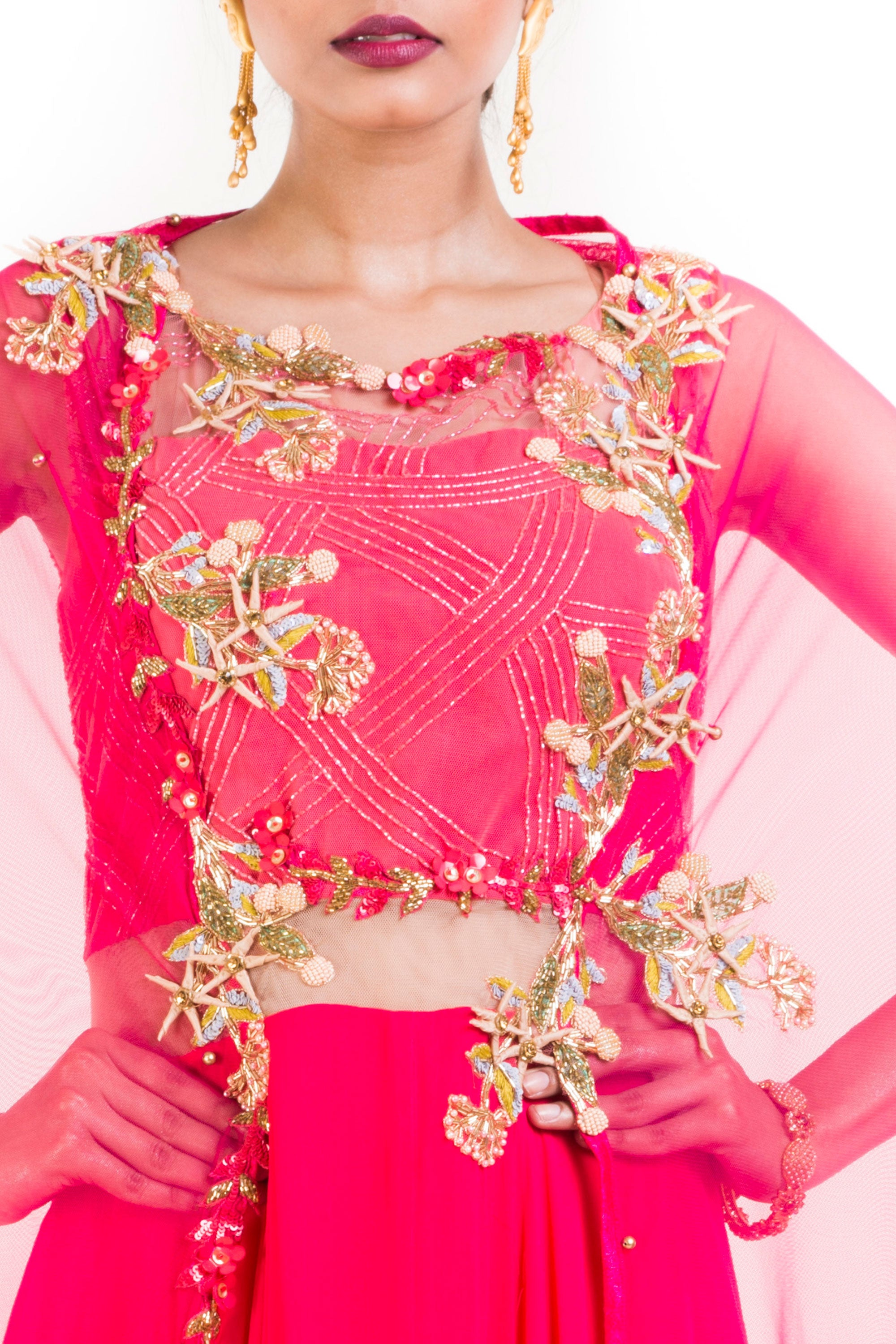 Bright Pink Suit Set With Attached Dupatta Closeup
