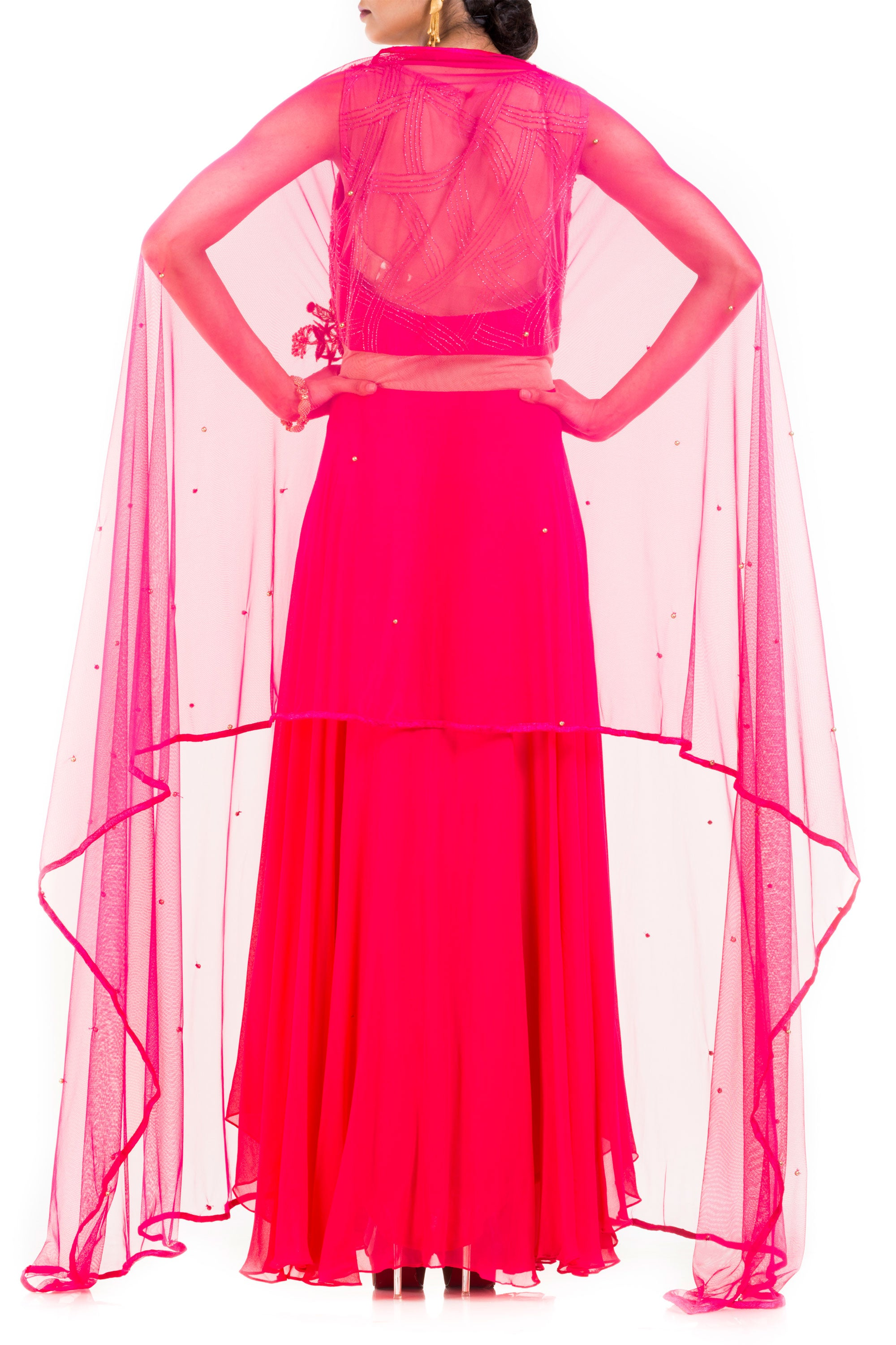 Bright Pink Suit Set With Attached Dupatta Back