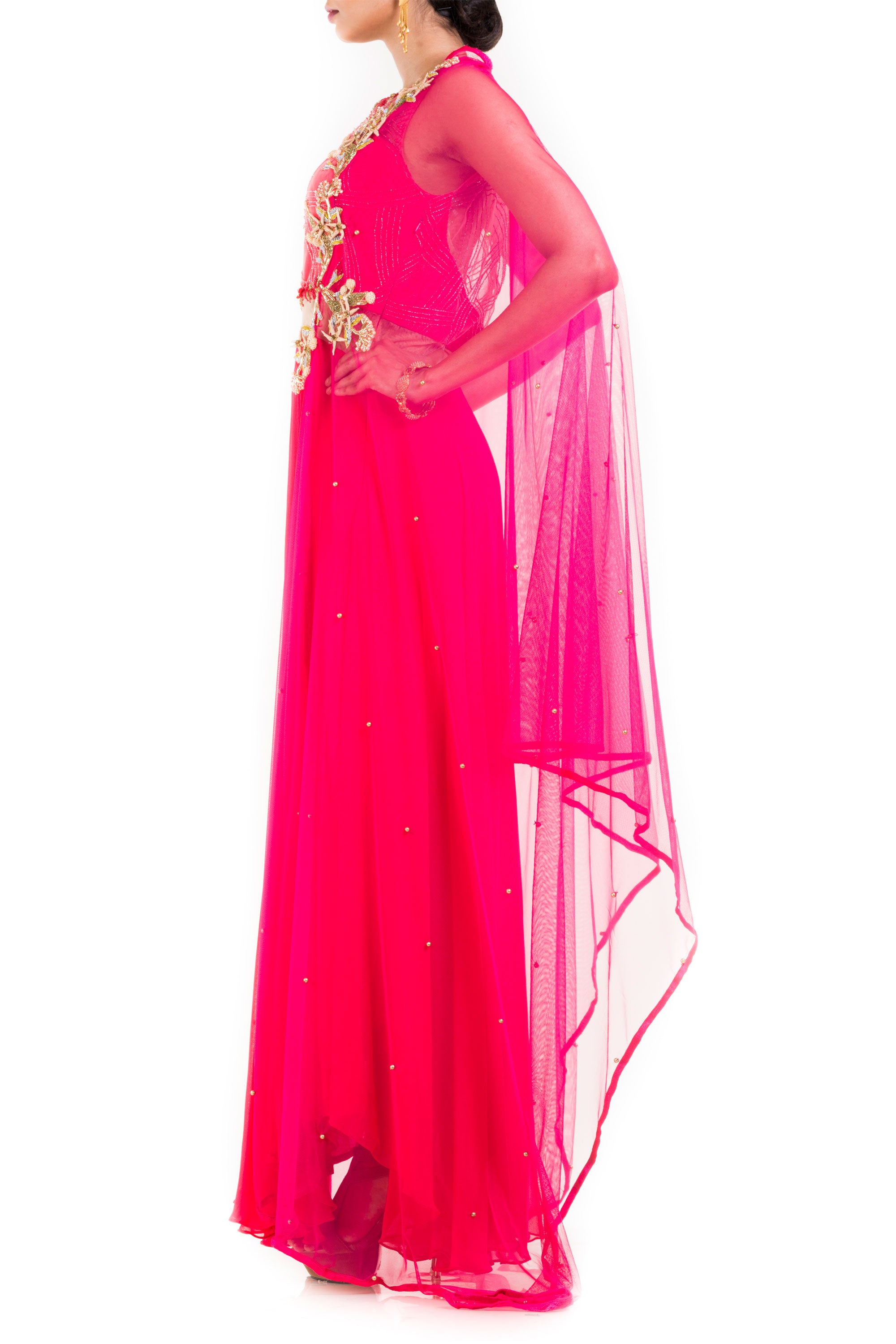 Bright Pink Suit Set With Attached Dupatta Side