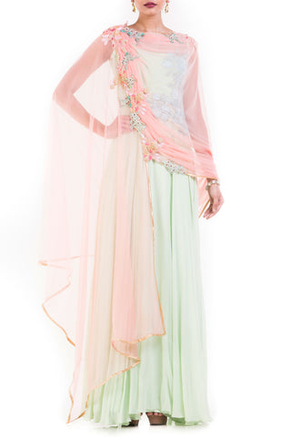 Mint Green One Shoulder Suit With Pale Peach Attached Dupatta Front