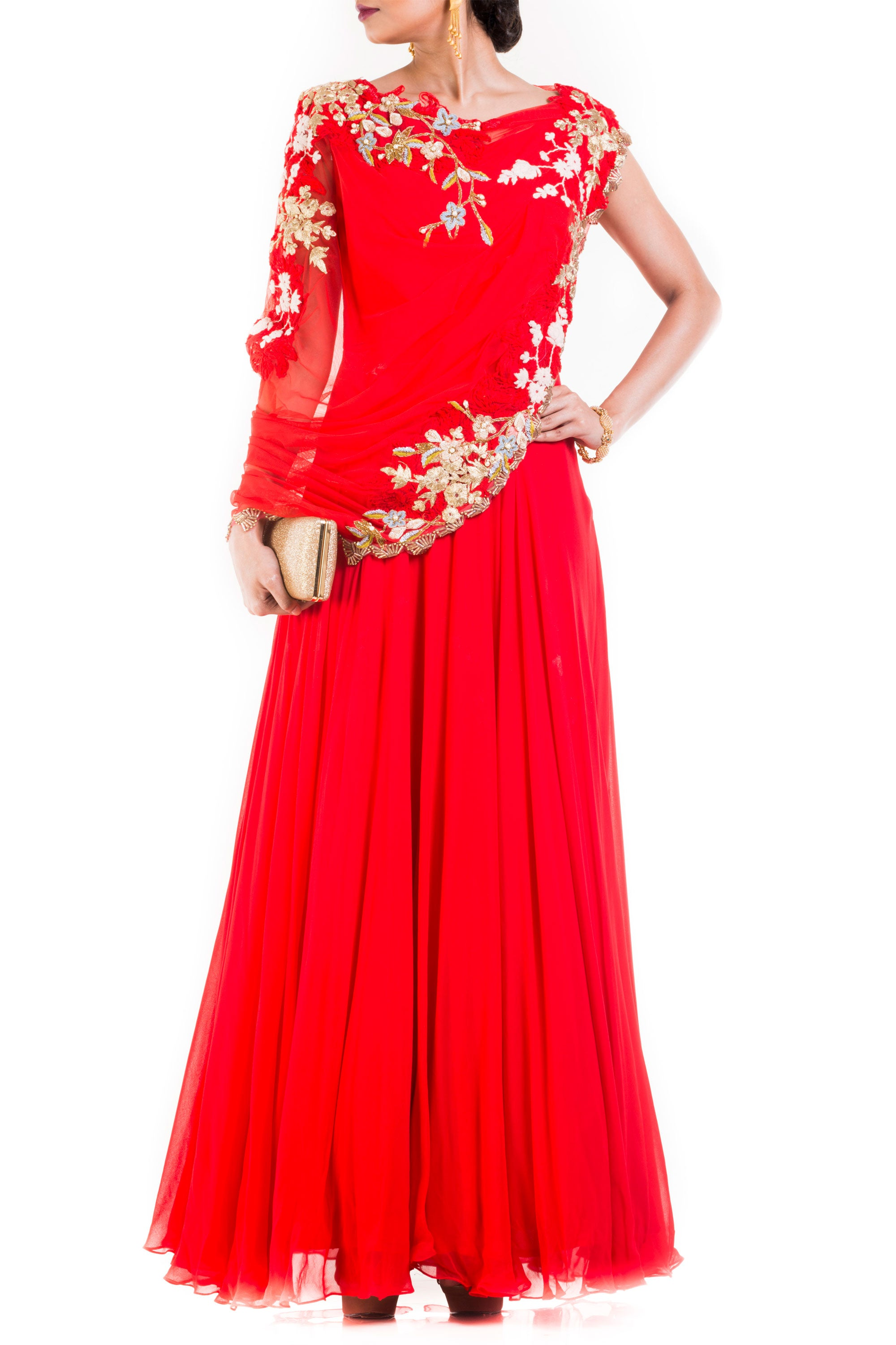 Bright Red Gown With Attached Draped Net Jacket Front