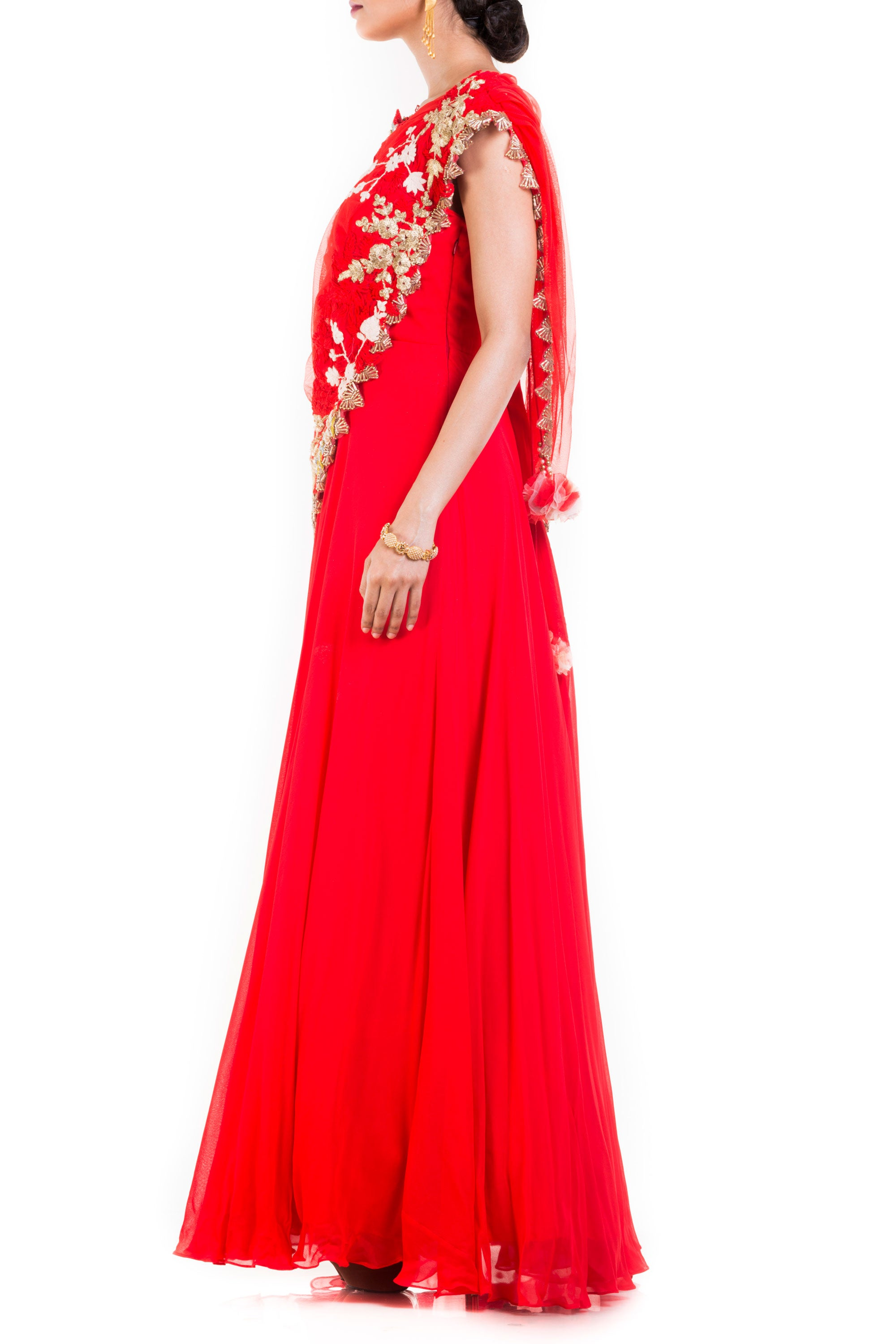 Bright Red Gown With Attached Draped Net Jacket Side