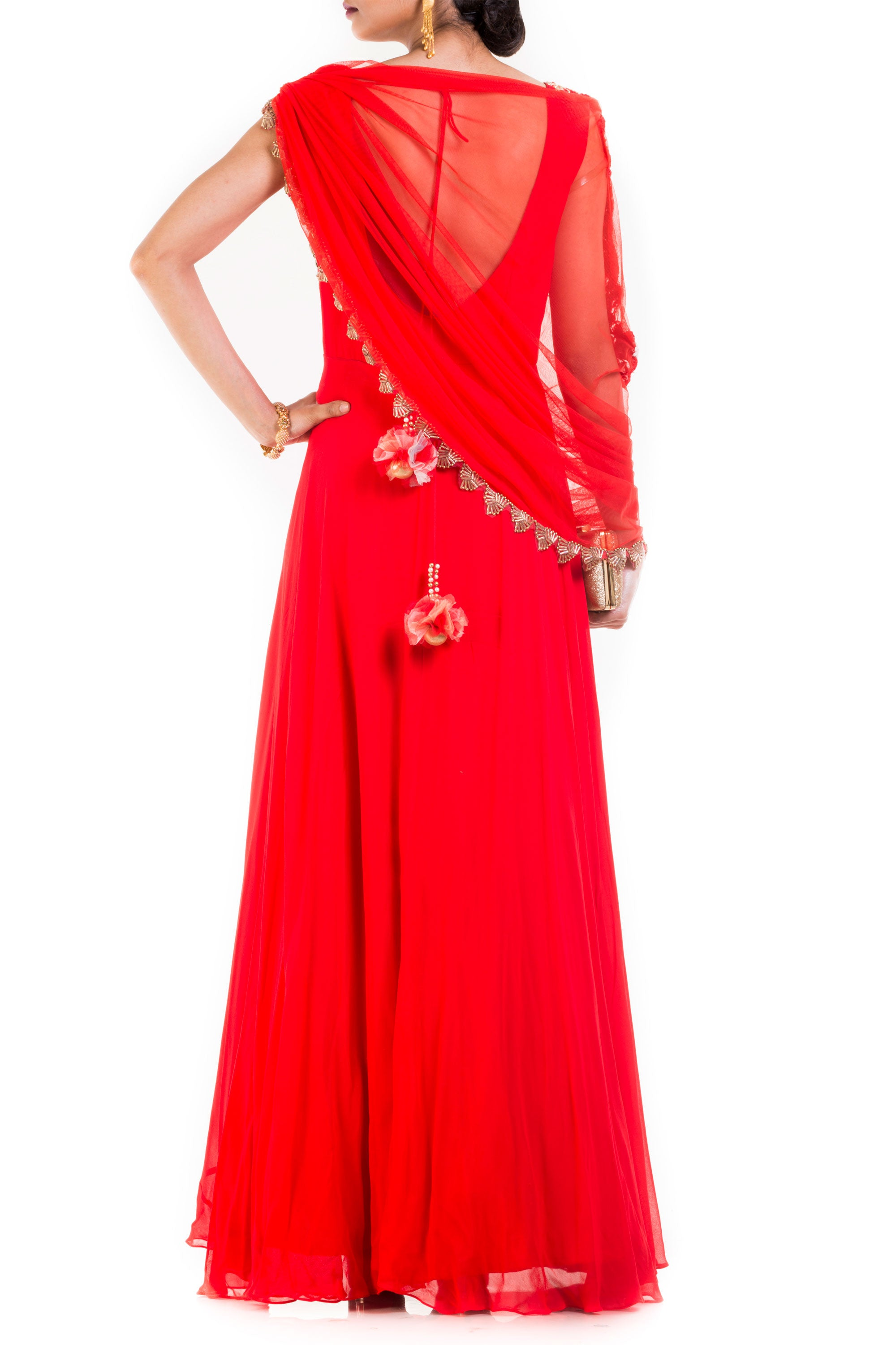 Bright Red Gown With Attached Draped Net Jacket Back