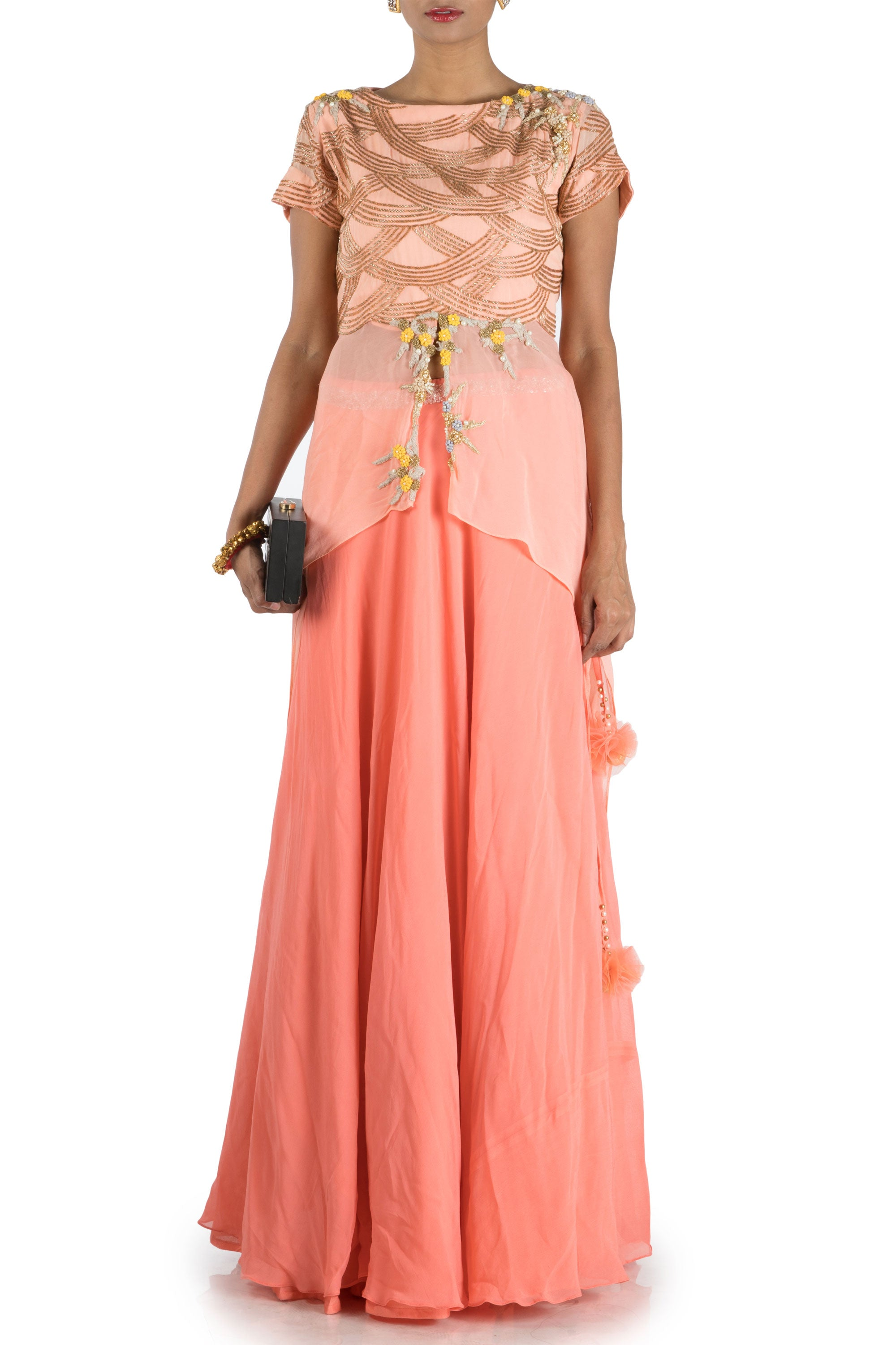 Peach Embellished Long Short Kurta And Lehenga Set Front
