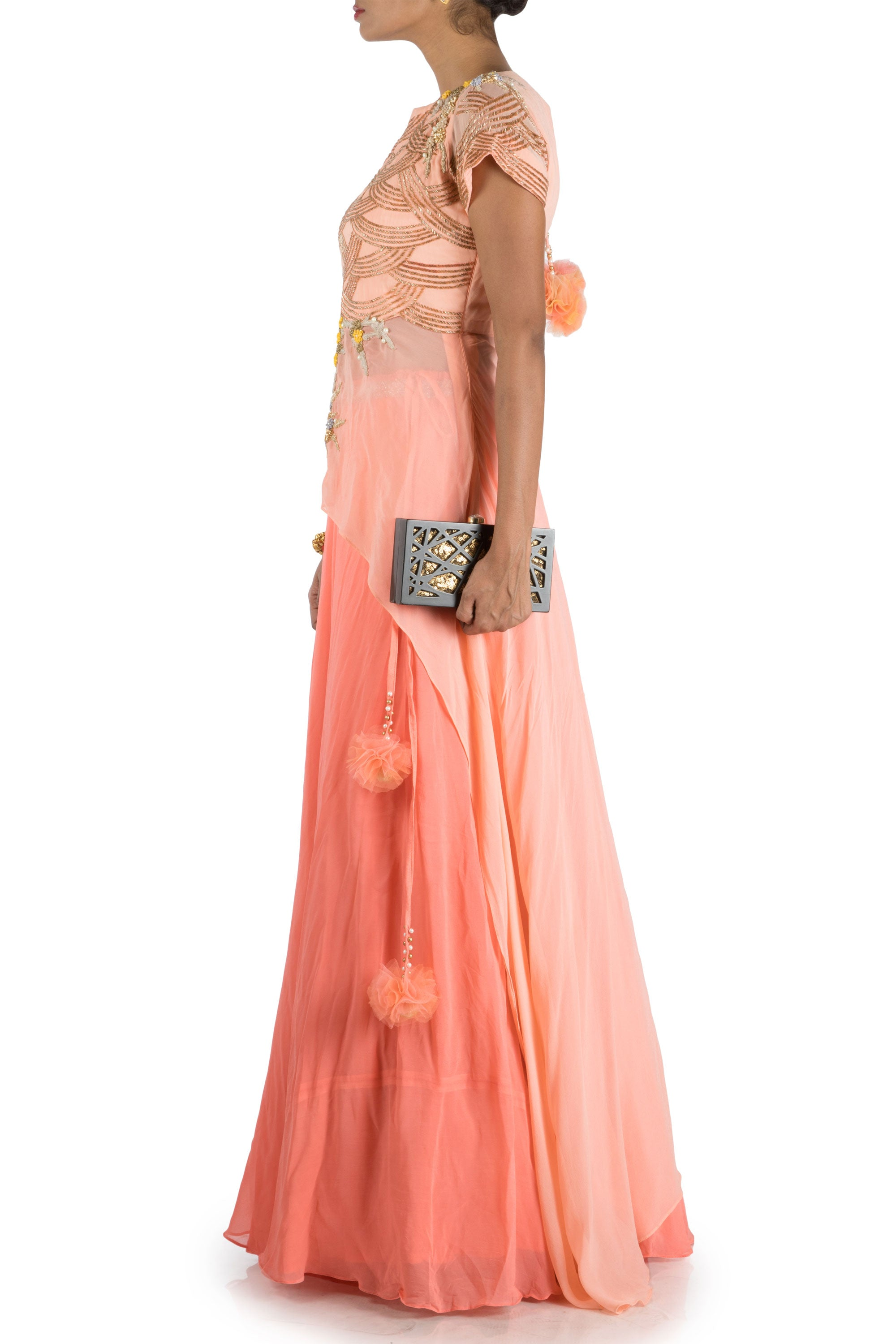 Peach Embellished Long Short Kurta And Lehenga Set Side