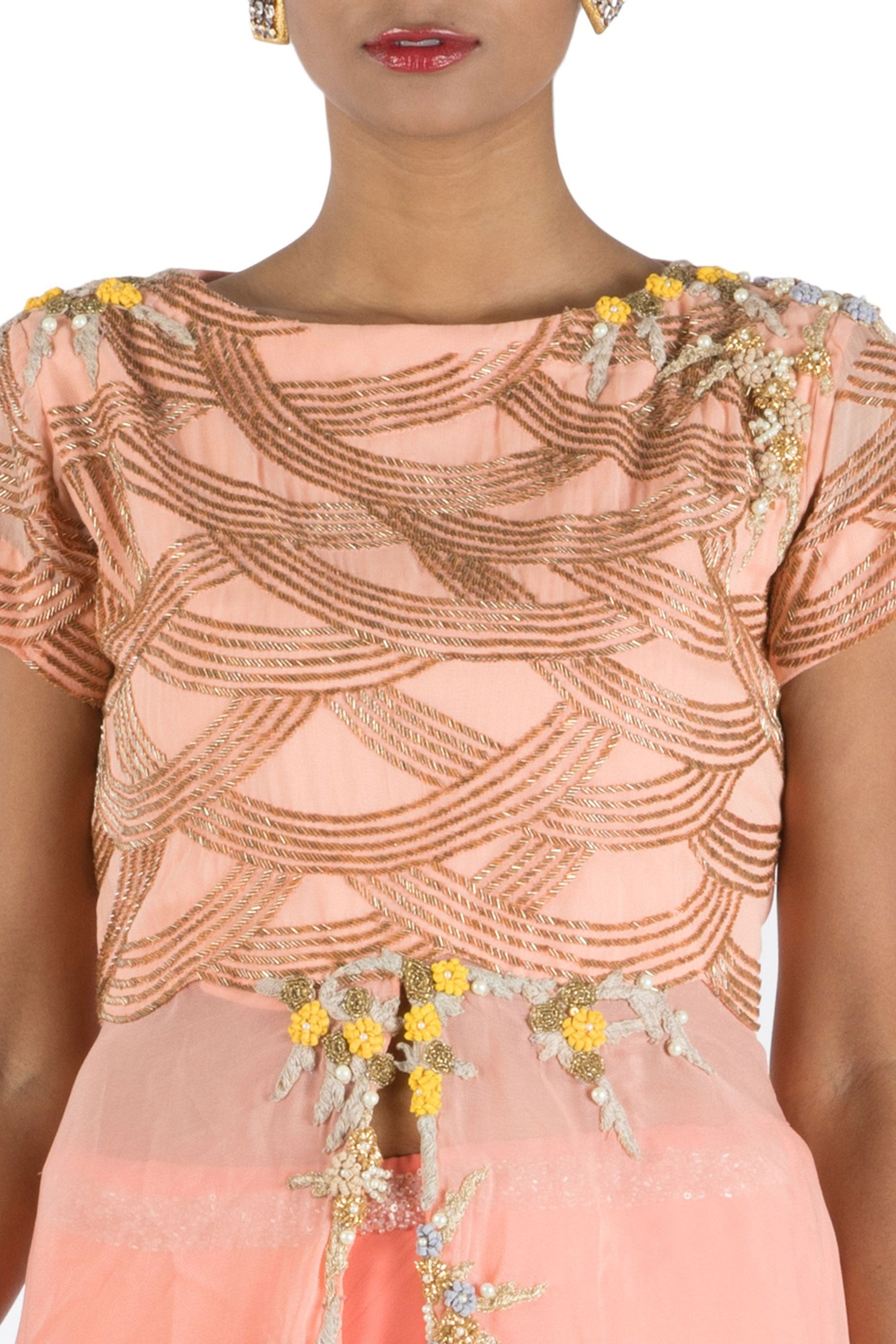 Peach Embellished Long Short Kurta And Lehenga Set Closeup