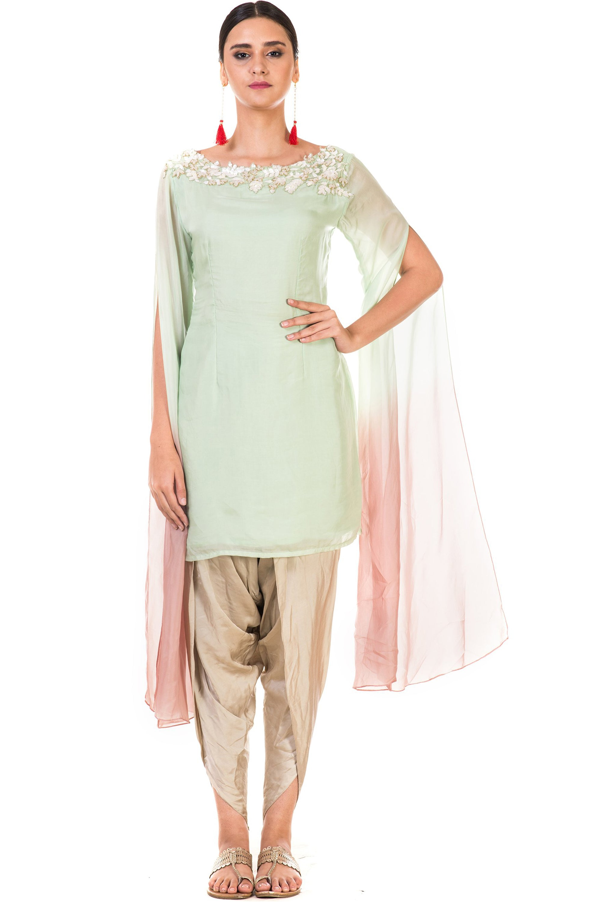 Hand Embroidered Green & Dusty Pink Shaded Tunic with Dhoti Pants Front