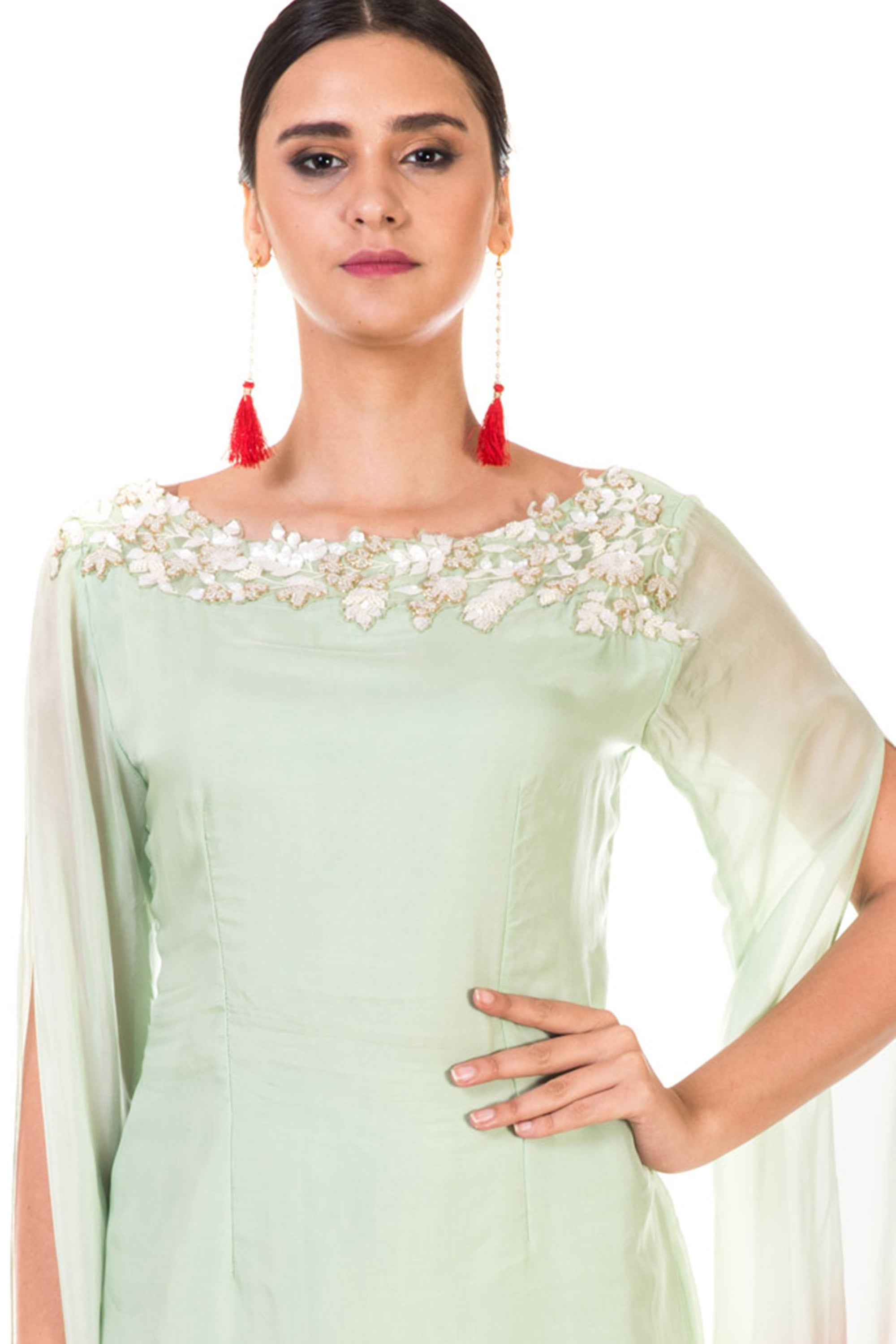 Hand Embroidered Green & Dusty Pink Shaded Tunic with Dhoti Pants CloseUp