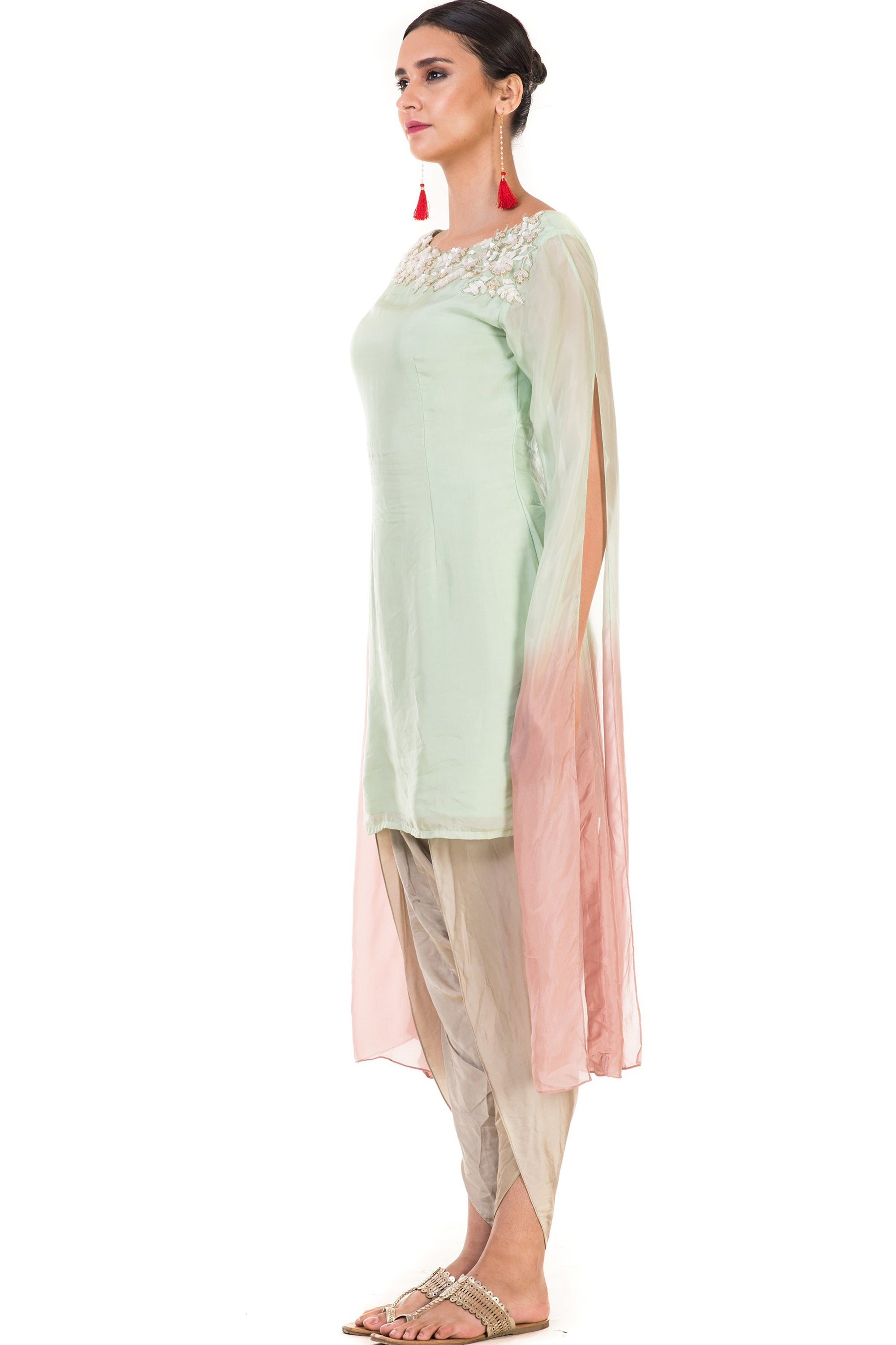 Hand Embroidered Green & Dusty Pink Shaded Tunic with Dhoti Pants Side
