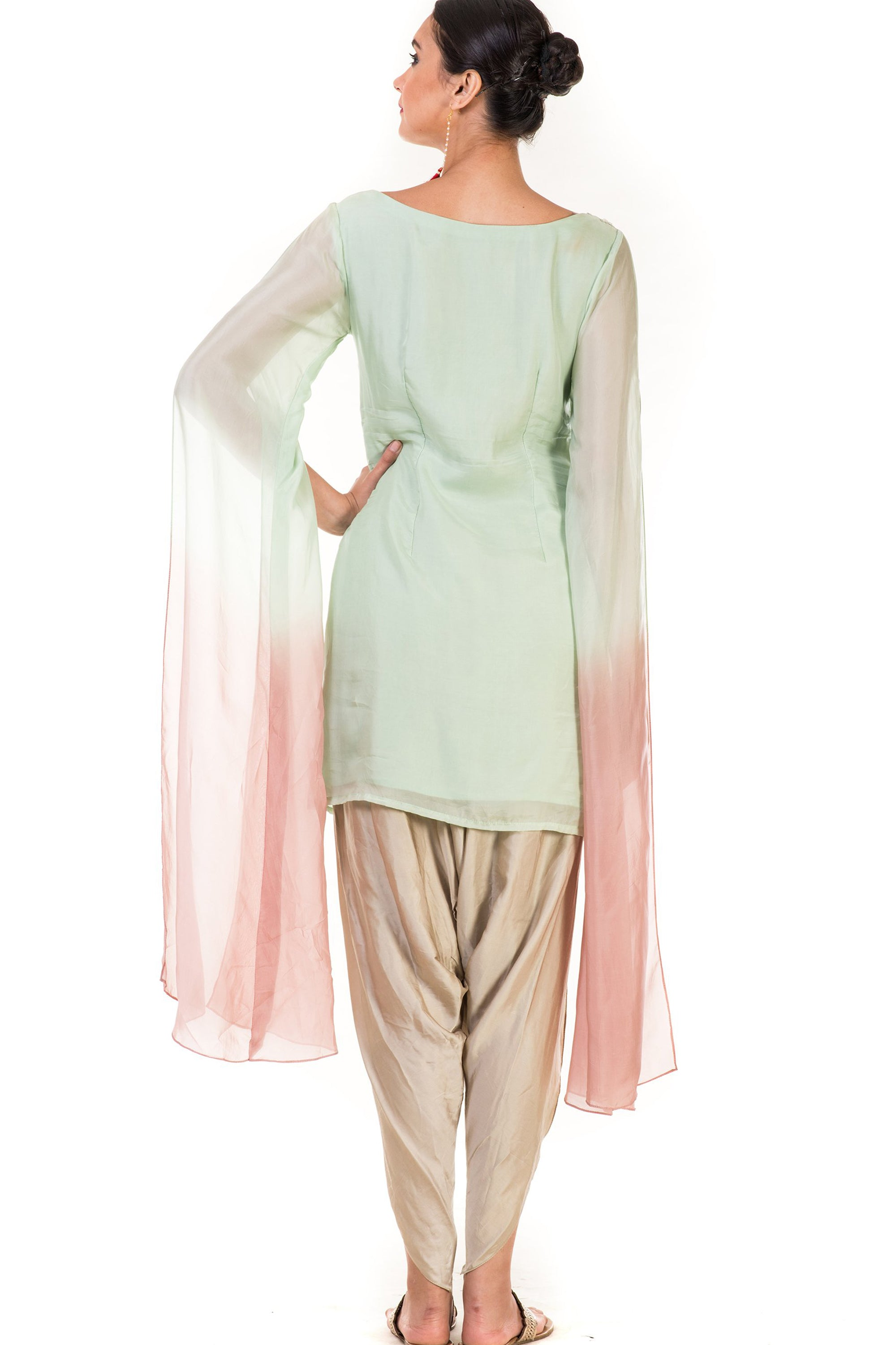 Hand Embroidered Green & Dusty Pink Shaded Tunic with Dhoti Pants Back