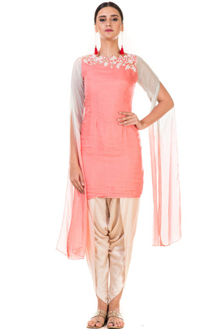 Pink & Aqua Shaded Embroidered Tunic with Dhoti Pants FRONT