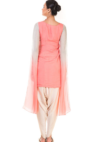 Pink & Aqua Shaded Embroidered Tunic with Dhoti Pants