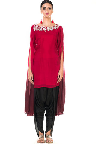 Hand Embroidered Red & Wine Shaded Long Sleeve  Embroidered Tunic with Dhoti Pants Front