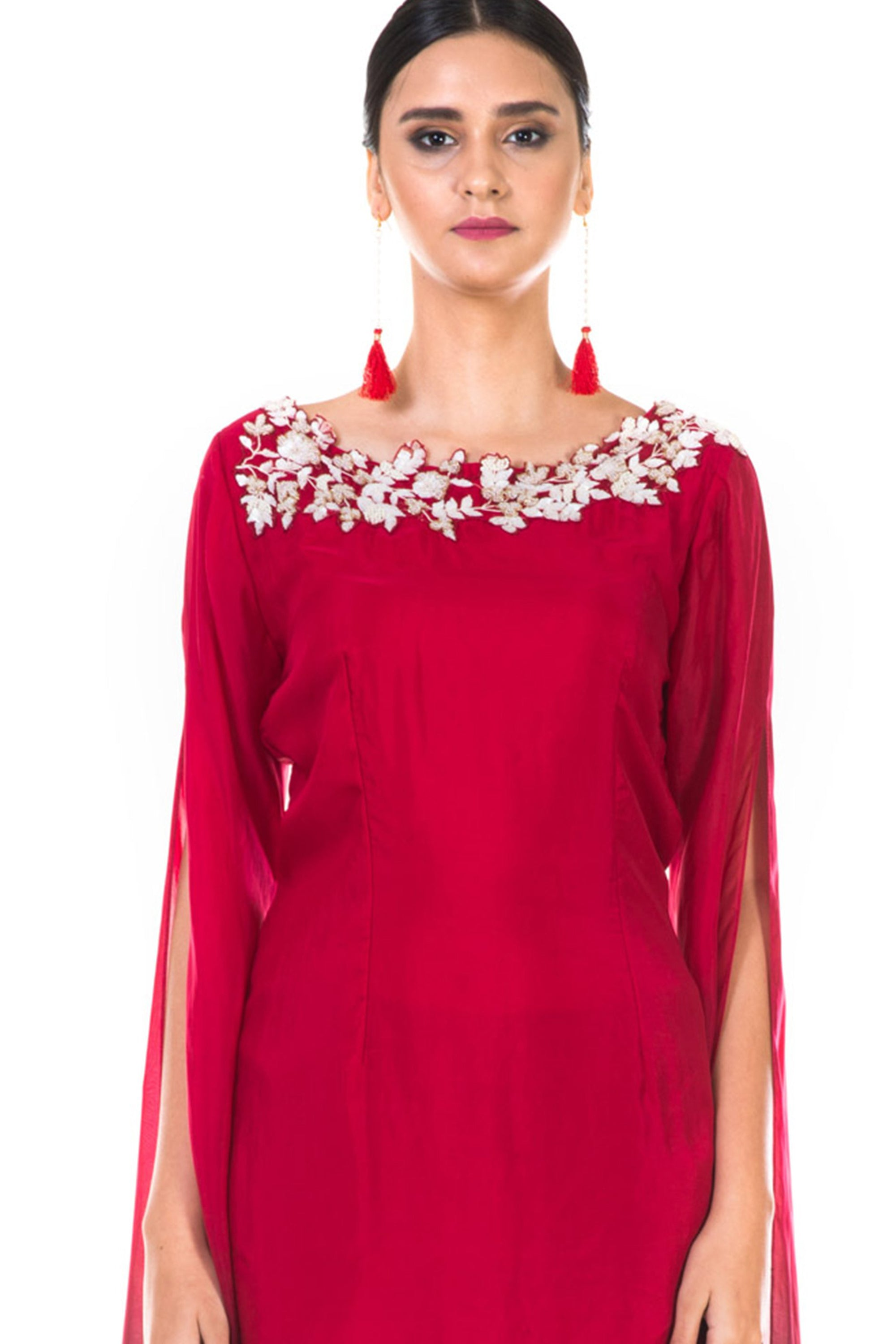 Hand Embroidered Red & Wine Shaded Long Sleeve  Embroidered Tunic with Dhoti Pants CloseUp