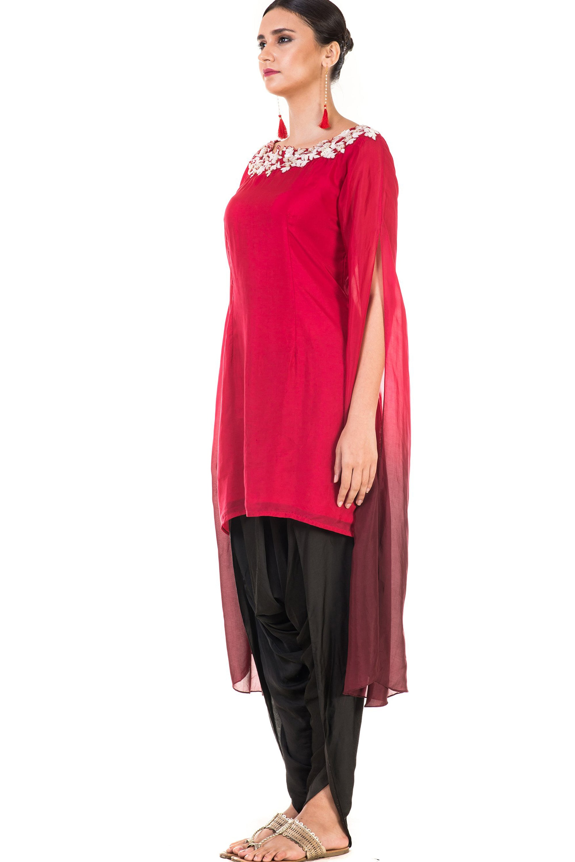 Hand Embroidered Red & Wine Shaded Long Sleeve  Embroidered Tunic with Dhoti Pants Side