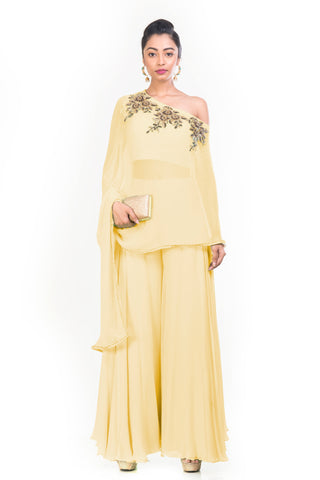 Pastel Yellow Drop Shoulder Palazzo Set FRONT