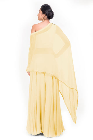 Pastel Yellow Drop Shoulder Palazzo Set