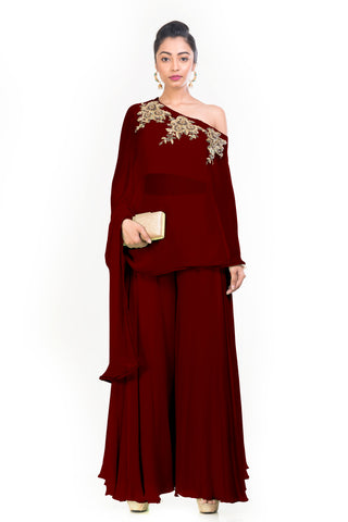 Maroon Drop Shoulder Palazzo Set FRONT
