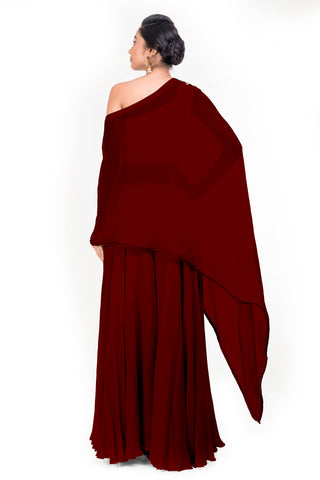Maroon Drop Shoulder Palazzo Set