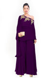 Purple Drop Shoulder Palazzo Set FRONT
