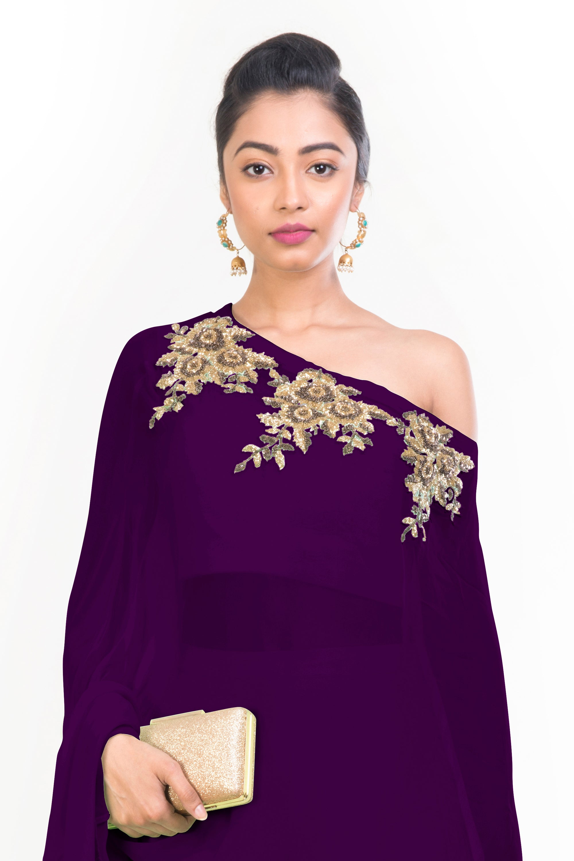 Purple Drop Shoulder Palazzo Set CLOSE
