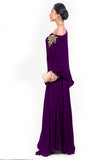 Purple Drop Shoulder Palazzo Set SIDE