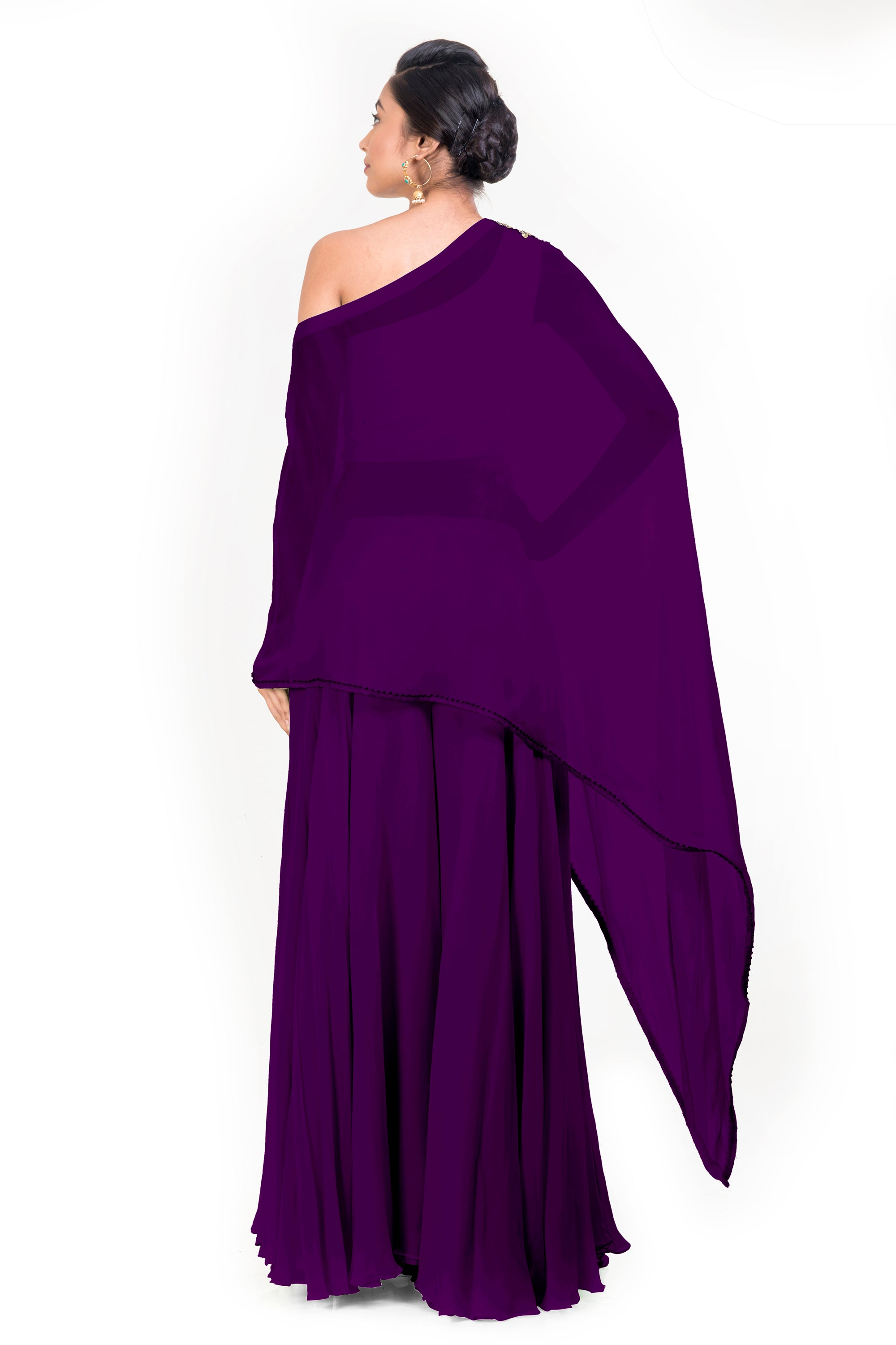 Purple Drop Shoulder Palazzo Set BACK
