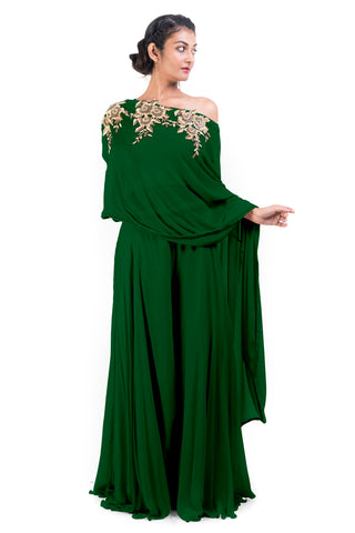 Green Drop Shoulder Palazzo Set FRONT