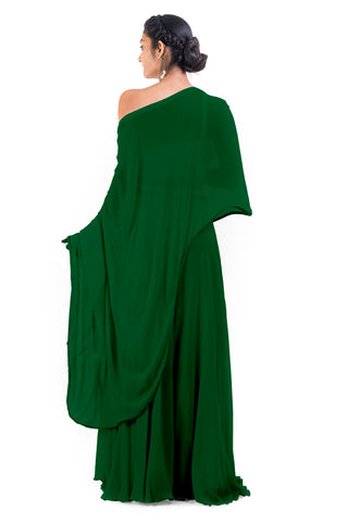 Green Drop Shoulder Palazzo Set