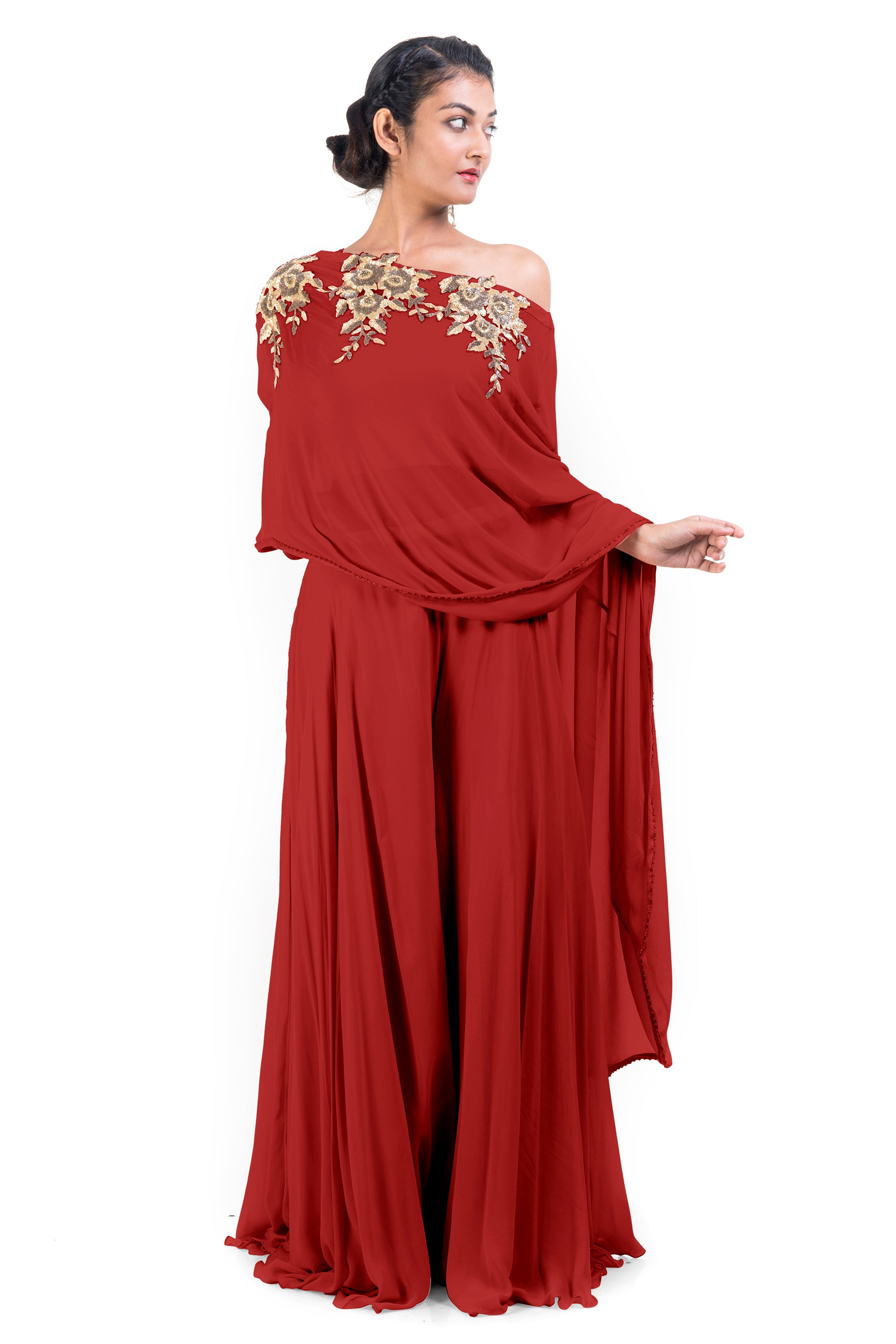 Red Drop Shoulder Palazzo Set FRONT