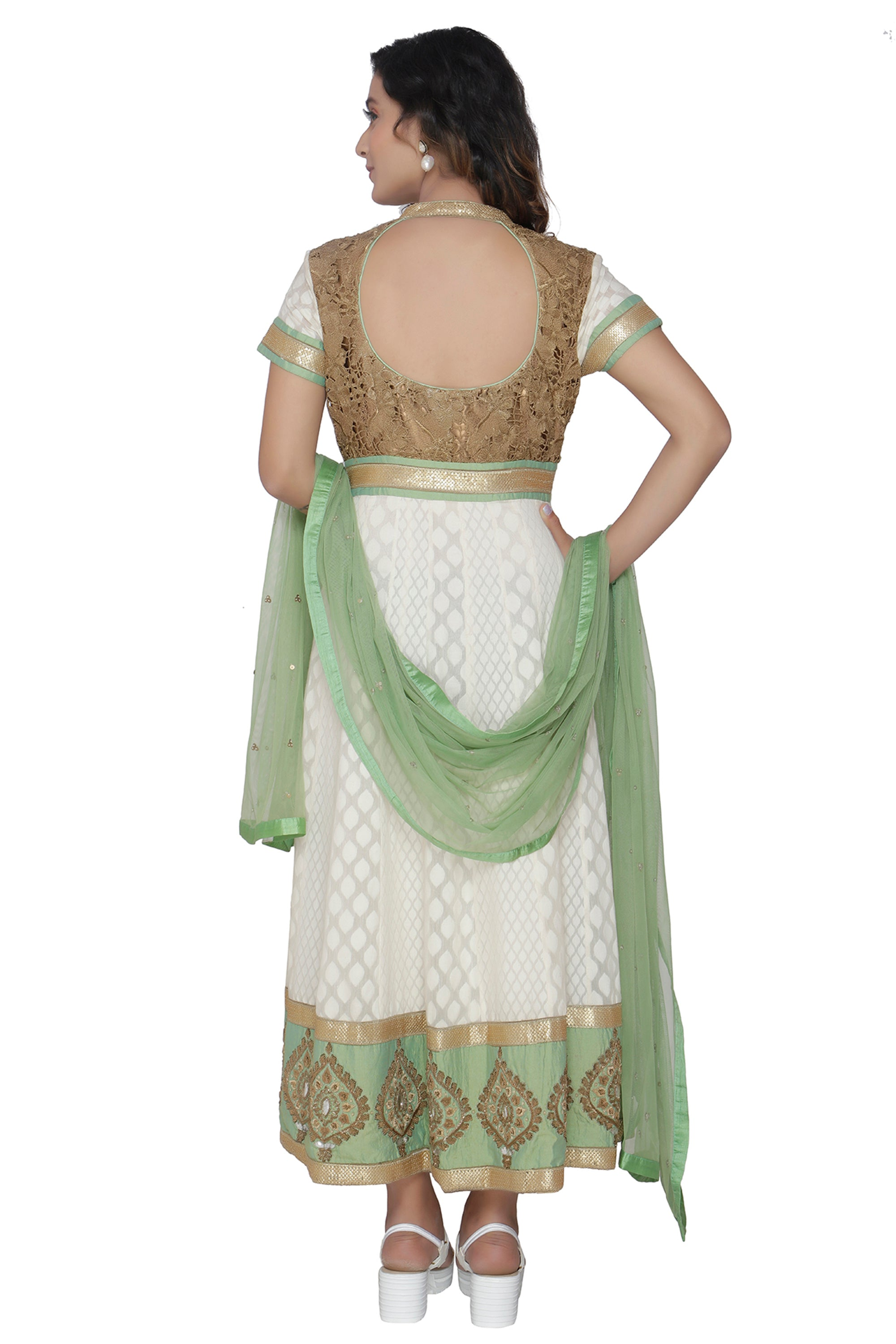Ivory Anarkali Set With Sage Green Duppatta BACK