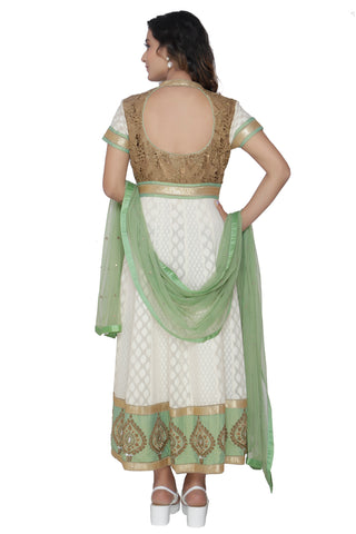 Ivory Anarkali Set With Sage Green Duppatta