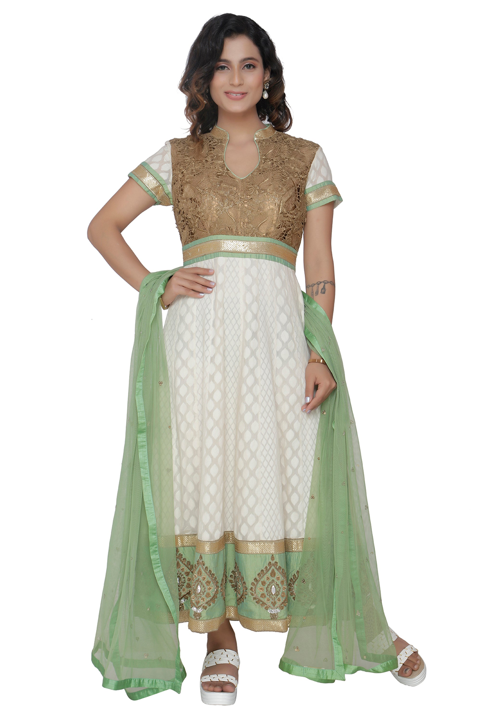 Ivory Anarkali Set With Sage Green Duppatta FRONT