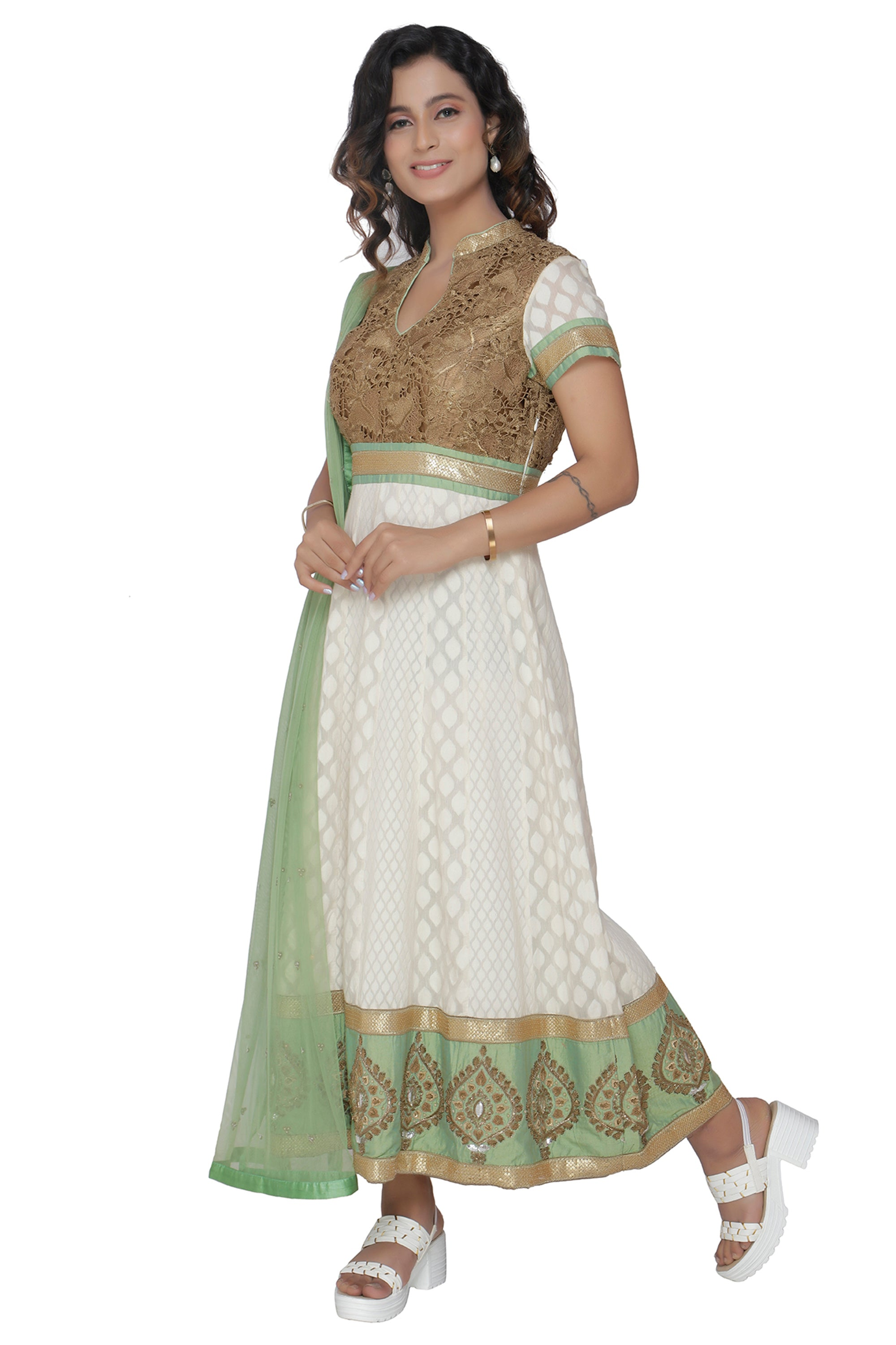 Ivory Anarkali Set With Sage Green Duppatta SIDE