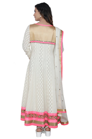Ivory Anarkali Set With Dupatta