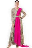 Hand Embroidered Pink & Olive Green Drape Gown Front