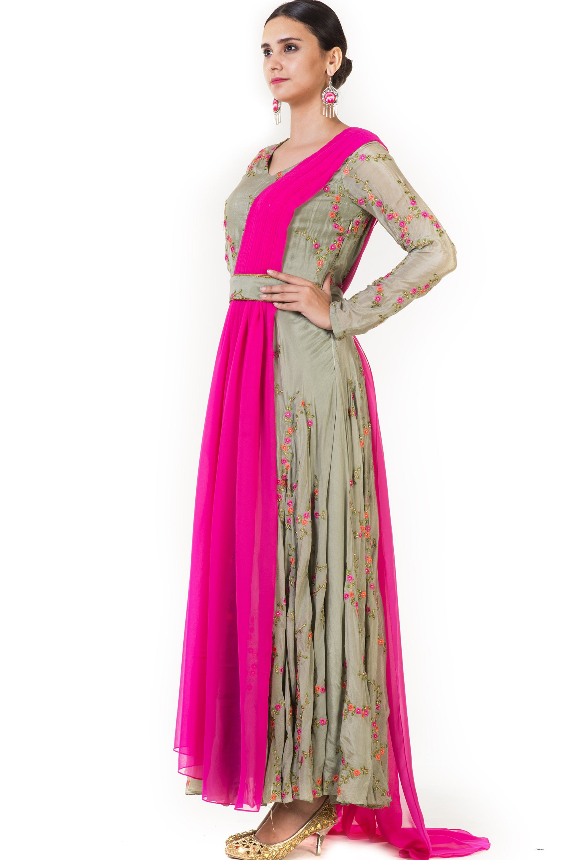 Hand Embroidered Pink & Olive Green Drape Gown Side