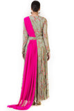 Hand Embroidered Pink & Olive Green Drape Gown Back