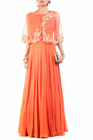 Bright Orange Cape Princess Gown Front