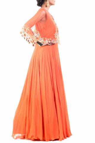 Bright Orange Cape Princess Gown