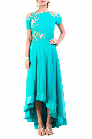 Teal Green High Low Gown Front