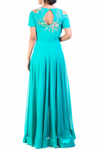 Teal Green High Low Gown