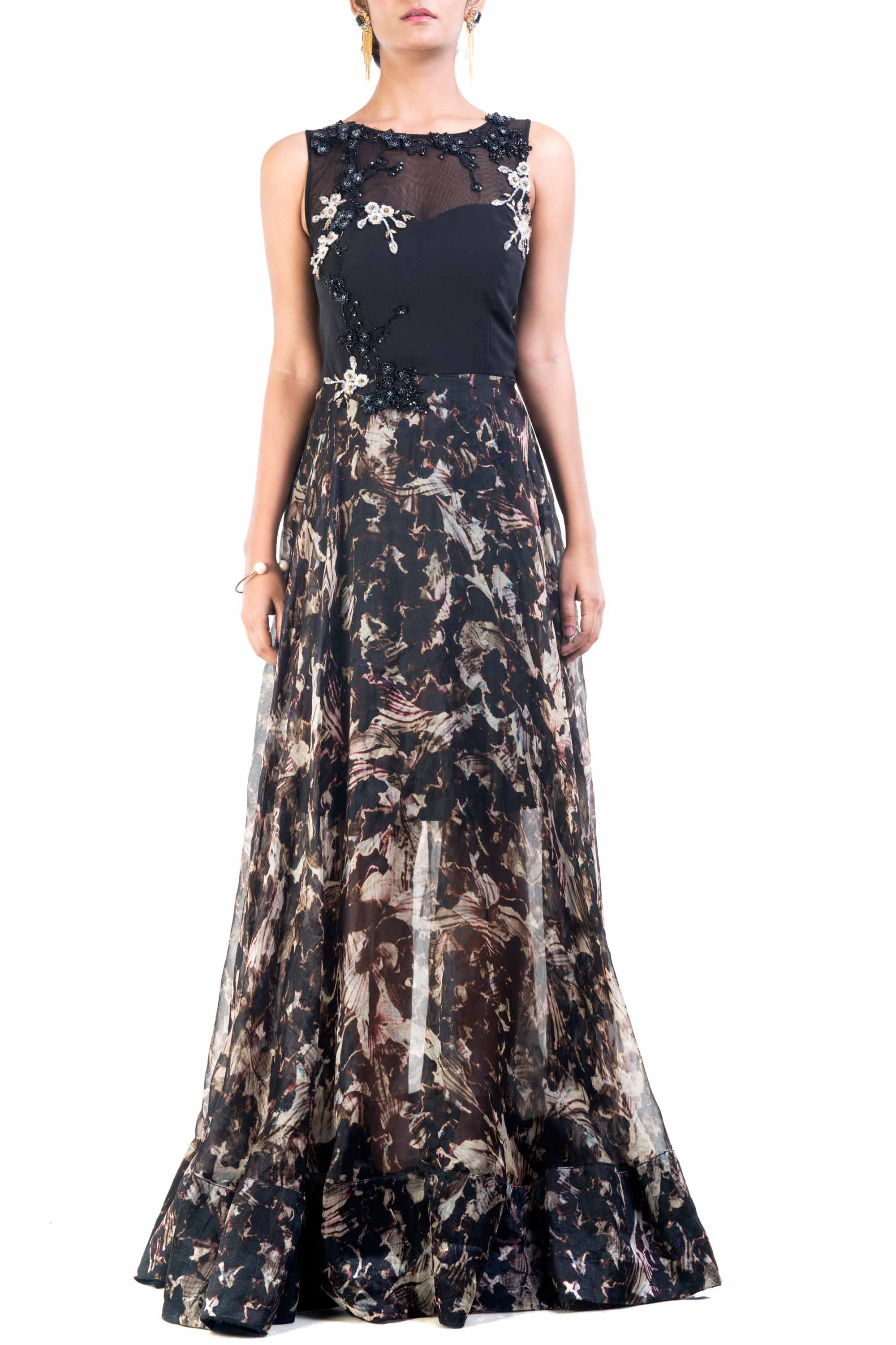 Abstract Dream Sheer Gown Front